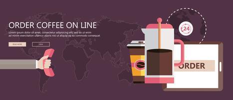 Pedir café na faixa plana de linha