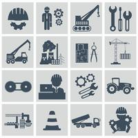 Engineering icon set. Engineer construction equipment machine operator managing and manufacturing icons. Flat vector illustration