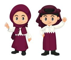 Children from Qatar in purple costume