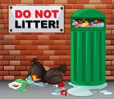 Teken geen rommel met veel vuilnis eronder