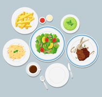 Different types of food on blue background
