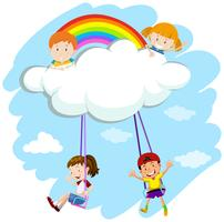 Kids playing swing on clouds