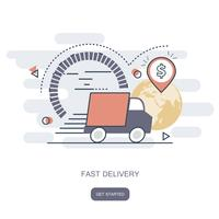 Fast delivery concept. Courier order, worldwide shipping. Fast and Free Transport. Flat vector illustration