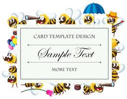 Card template with bee characters vector