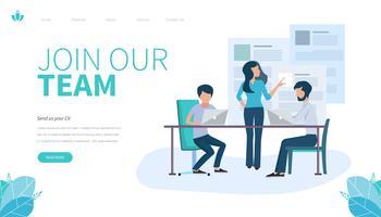 Modèle de page de destination de Rejoignez notre équipe. Concept de design plat moderne de conception de page Web pour site Web et site Web mobile