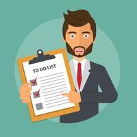 Geschäftsmann, der ein Dokument mit To-Do-Liste verwahrt