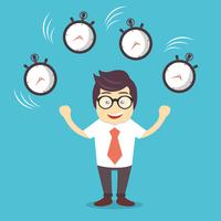 Smiling cartoon businessman juggling with alarm clocks, symbolizing time management