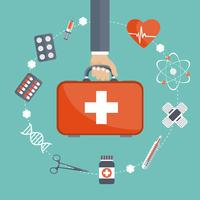 Vector illustration in a modern flat style, health care concept. Hand with medical bag and medical icons