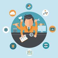 Mann arbeitet an verschiedenen Projekten aus seinem Büro. Selbstständigkeit und Multitasking-Konzept