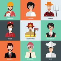 Gens de différentes professions, icônes dans la collection de jeu