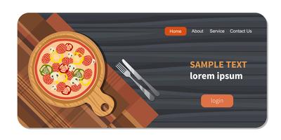 Food on table. Pizza on wooden board next to fork and knife. Flat vector illustration