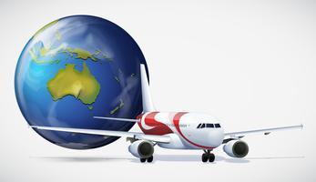 Aeroplano e il mondo su sfondo bianco