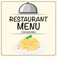 Plantilla de menú de restaurante con pasta en placa