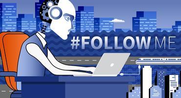 Hashtag follow me concept