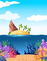 Scene with island and coral underwater