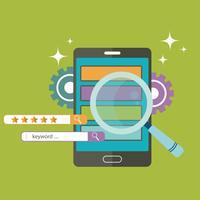 Concetto di applicazioni mobili. Dispositivo smart phone con lente d'ingrandimento e stelle di valutazione. Illustrazione vettoriale piatto