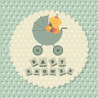 Baby shower poster. Baby in a carriage