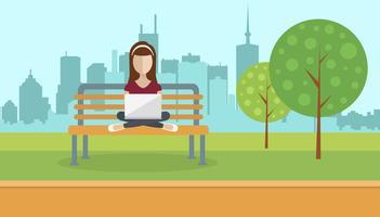 Vrouw zitten in een park, lap top op schoot te houden. Sociaal netwerk concept. Platte vectorillustratie