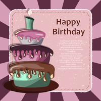 Birthday card with cake. Concept for birthdays, Valentine's Day, weddings. Flat vector illustration