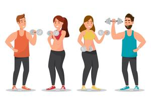 Happy man and woman dressed a sportswear and  doing exercises with dumbbells
