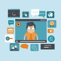 Educación en línea y concepto de e-learning. Tutoriales web on line