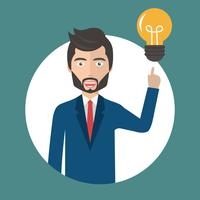 Businessman with an idea concept. Man standing next to light bulb as symbol of great business idea.