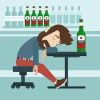 Betrunkener Mann schlafen in der Kneipe ein. Flache Vektor-Illustration