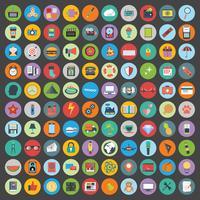 Le icone piane progettano l'illustrazione moderna di vettore. Grande set di icone di sviluppo web e tecnologia, simbolo di gestione aziendale, articoli di marketing e altri vari oggetti sullo sfondo.