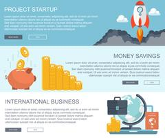 Bedrijfs- en financiële concepten. Project opstarten, geld besparen en internationale zakelijke banners