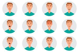 Set of male facial emotions. man emoji character with different expressions