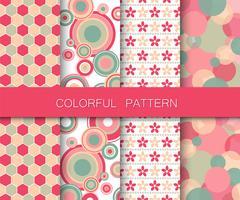 Set di modelli colorati. Motivi di sfondo per tessuto e carta. Illustrazione vettoriale piatto