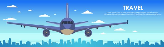 Airplane flying over city skyscrapers. Plane in the sky city scape skyline background banner. Flat vector Illustration