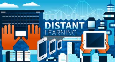 Distant learning och online tutorials koncept. Platt vektor illustration