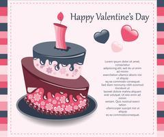 Carta di San Valentino Concetto per San Valentino, compleanni, matrimoni. Torta colorata Illustrazione vettoriale piatto