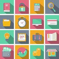 Plattikon inställd för webbplatser och mobila applikationer med lång skugga