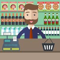 Concepto de compras Tienda de supermercado, mostrador, equipo de escritorio y empleado en uniforme. Ilustración vectorial plana