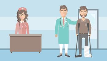Patient with broken leg and his doctor standing in hospital corridor. Flat vector illustration