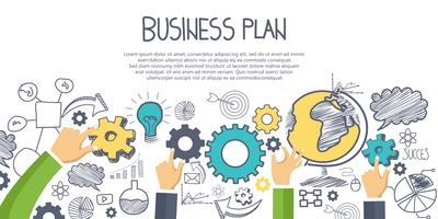 Business plan concept. Hand drawn business elements with hands