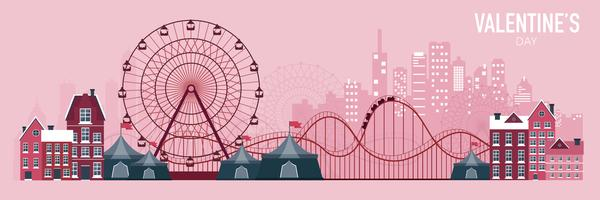 Amusement park with roller coaster. Valentine's day concept background