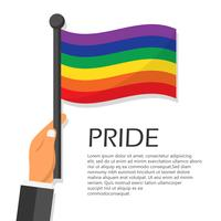 Vector illustration for pride month event celebration. Hand holding rainbow flag.