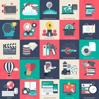 Conjunto de iconos de negocios, tecnología y finanzas para sitios web, aplicaciones y servicios móviles. Ilustración vectorial plana