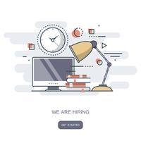 We are hiring concept. Find the right person for the job. Flat vector illustration