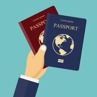 Pasaportes rojos y azules en la mano. Concepto para viajes, vacaciones, vacaciones.