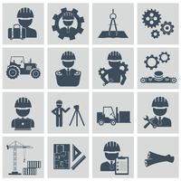 Engineering icon set. Engineer construction equipment machine operator managing and manufacturing icons
