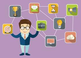 Homem negócios, apresentando, relacionamento cliente, gerência