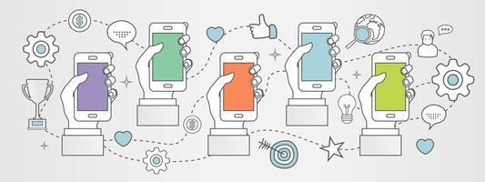Concetto di applicazioni mobili. Mani con i telefoni