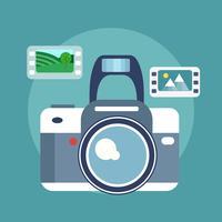 Fotografi koncept. Kamera och foton