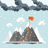 Mountains in winter. Achievement, exploring and discovery concept