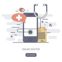 On line doctor concept. On line medical consultation. Flat vector illustration