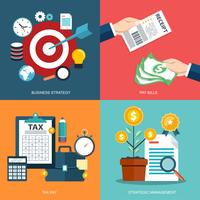 Icon set for business strategy, pay bills, tax pay, strategic management